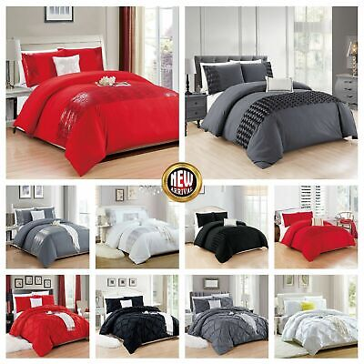 Grey Black Beige Red Duvet Covet Set Single Double King Size With Pillow Cases