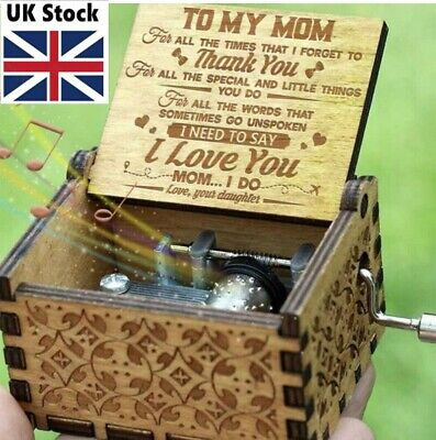 Best Wooden Music Box -TO Wife/Son/Mum/DAD/Daughter-Engraved Toy Best Gifts