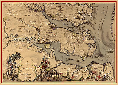 Early Pictorial Map Jamestown Williamsburg Yorktown Virginia Poster Wall Print