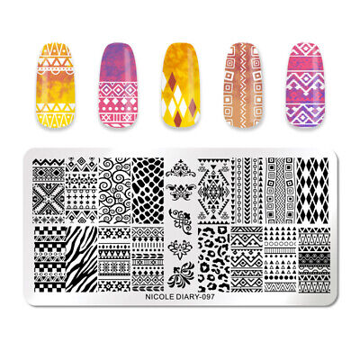 NICOLE DIARY Rectangle Nail Stamping Plate Mixed Pattern Nail Image Templates