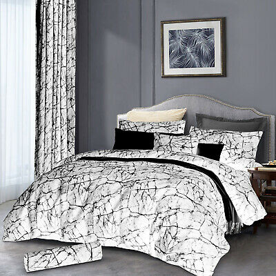 Grey King Size Duvet Cover Set With Pillow Cases Marble Quilt Cover Bedding Set