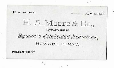 Old Quack Medicine Business Card HA Moore Ryman's Celebrated Medicines Howard PA