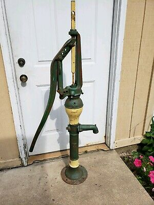 Vintage Antique Water Pump Well Cast Iron Painted John Deere HEAVY Farmhouse