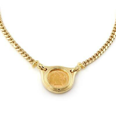 22k Liberty Coin 18k Yellow Gold Pendant & Curb Link Chain Necklace