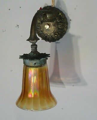 Antique Vintage Art Deco Bronze Sconce Carnival Glass  Shade Rewired