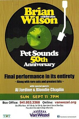 "Beach Boys Brian Wilson 6""x9"" Pet Sounds 50th Anniversary promo poster 9/11/16"
