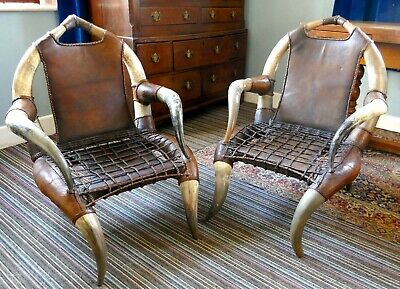 Pair of Antique Cow Horn Leather Arm Chairs, Hunting Lodge