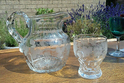 Beautiful Antique Victorian Etched Grape Vine Cut Glass Water Jug + Glass