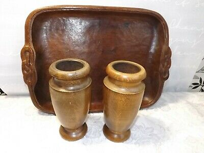 Treen -  Hand Carved Wooden Tray & A Pair of Turned Vases