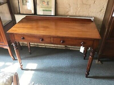 Early 19th Century Victorian Mahogany Hall Table Galleried Back 2 Frieze Drawers