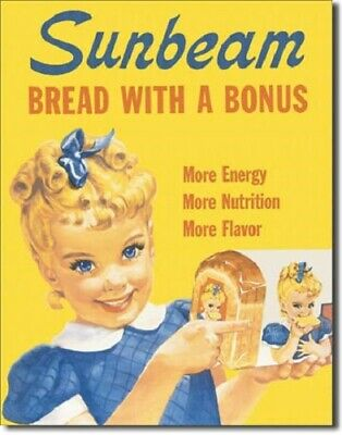 New Sunbeam Bread with Little Miss Sunbeam Decorative Metal Tin Sign