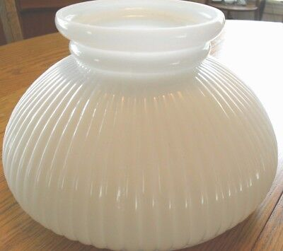 """VINTAGE*MILK GLASS  8 x 5.5"""" STUDENT *OIL LAMP SHADE 6 5/8"""" FITTER*RIBBED FLUTED"""