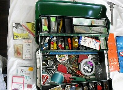 My Buddy Tacklemaster Fishing Tackle Box Green Metal 4 Tray w/ tackle 416RL