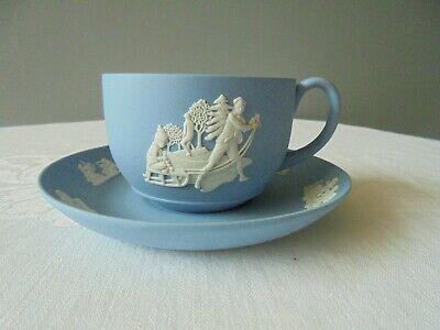 Vintage Wedgewood Jasperware Blue Cup And Saucer Good Condition