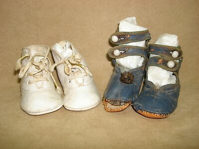 Antique 1800'S Victorian Blue Leather And 1920'S White Leather Baby Shoes!