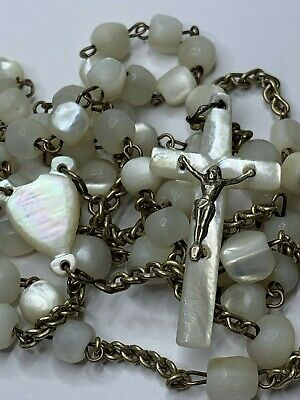"† Antique Sterling Hand Cut Mother Of Pearl Shell Rosary Rosario Necklace 25"" †"