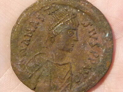 Anastasius I 491-518 Nice Obv but Cleaned Rev ! Byzantine Bronze Coin 37mm #Q127