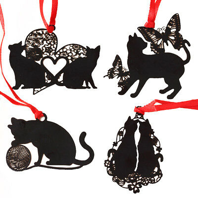 5xCute Black Cat Metal Hollow Bookmark Holder Paper Marker Stationery Supplier