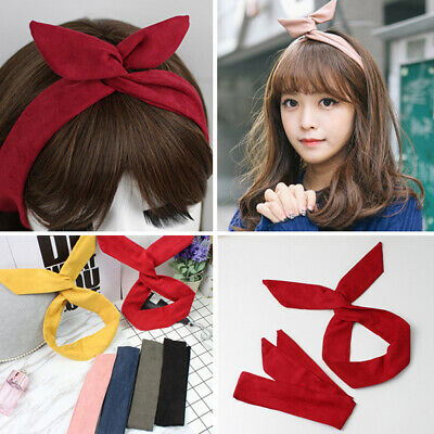 Fashion Women Pure Color Suede Rabbit Ears Metal Wire Hair Band Yoga Headband