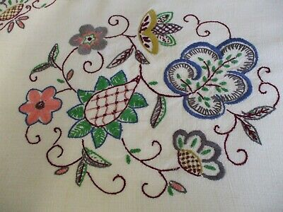 """Vintage linen hand embroidered table runner 43 """" x 12 """""""