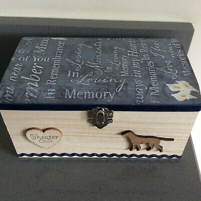 DOG PET IN LOVING MEMORY WOODEN KEEPSAKE BOX ASHES PERSONALISED GIFT Breeds