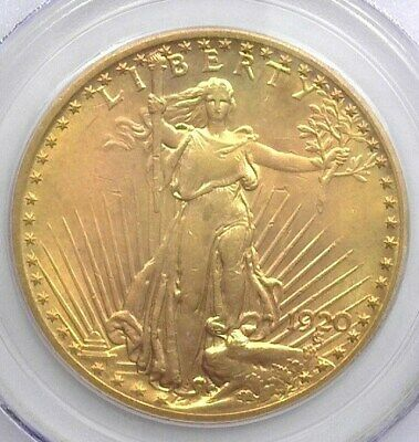 1920 Saint Gaudens $20 Gold Double Eagle Pcgs Ms63 Valued At $1,850!