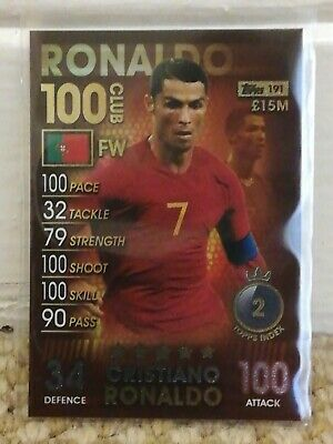 Match Attax 101 CRISTIANO RONALD 100 CLUB Card #191 Topps 2018/19 18/19