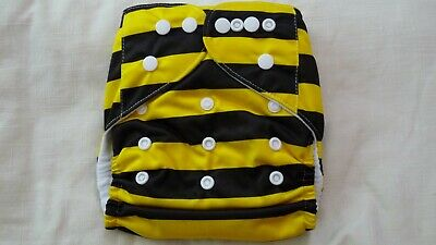 New Cloth Pocket Diaper Nappy Microfiber Insert Yellow Black Bumblebee Stripes