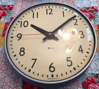 Vintage Simplex Glass Dome Office Industrial School Wall Clock Tested Works
