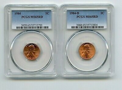 1984/1984-D Lincoln Memorial Cents (MS65RD) PCGS 2 Coins