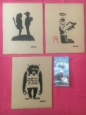 Banksy Dismaland Souvenir Cardboard Canvas Numbered Original Street Art Spray