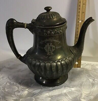 ANTIQUE 1887 REED & BARTON SILVER Plate Engraved SILVERPLATE Ice Water PITCHER