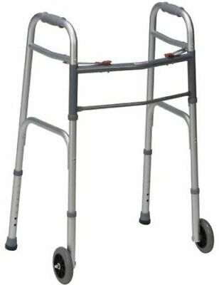 Dmi Lightweight Aluminum Folding Walker With Easy Two Button Release, Silver