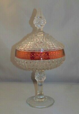 Vintage Indiana Glass King's Crown Cranberry Flash Covered Candy Dish