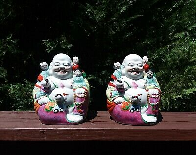 Fine Old Chinese Porcelain Buddha Five Children Statue SIGNED Marked Lucky #99