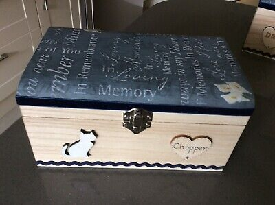 CAT PET IN LOVING MEMORY WOODEN BOX ASHES CASKET PERSONALISED GIFT URN Memorial