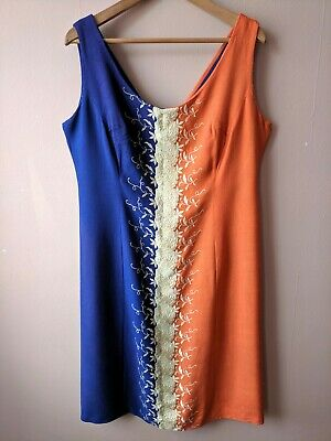 60s Vintage Shift Dress Busty Orange Blue Mod Gogo