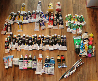 Used Lot 75 Acrylic Paints - Reeves Soho Liquitex Golden Daler Rowney Charvin