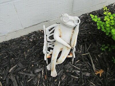Antique Cast Iron Frog On A Bench Doorstop Garden Art Very Rare