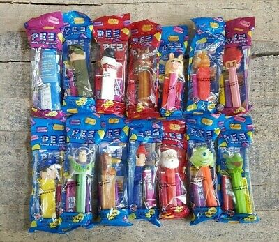 Pez Dispenser Lot of 14 Brand New Muppets, Disney, Pixar, Christmas, Characters