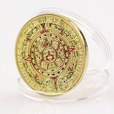 1pc Gold Plated Mayan Aztec Prophecy Calendar Commemorative Coin Art Collection