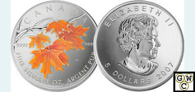 2007 Colorized Silver Maple Leaf 1oz .9999Fine(Sugar Maple in Orange)(12175)OOAK
