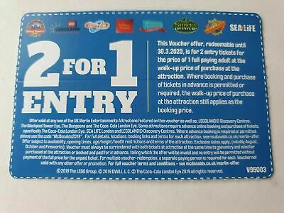 2 for 1 Vouchers ALTON TOWERS SEALIFE LEGOLAND THORPE PARK Merlin attraction