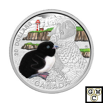 2014 'Atlantic Puffin - Baby Animals' Color Prf $20 Fine Silver 1oz. Coin(14006)