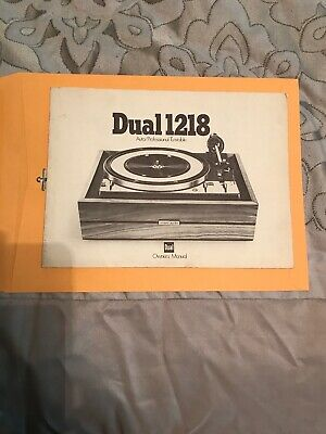 Dual 1218 Auto/Professional Turntable Owner's Manual
