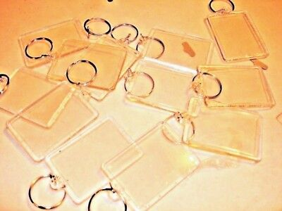 """96 Photo Keychains Blank Clear Acrylic Insert Picture 1.75"""" X 2.25"""" Frame Size."""