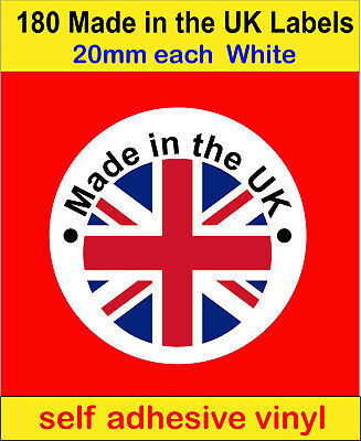 180 Made in the UK Union Jack flag Stickers Soap Candle card Labels vinyl decals