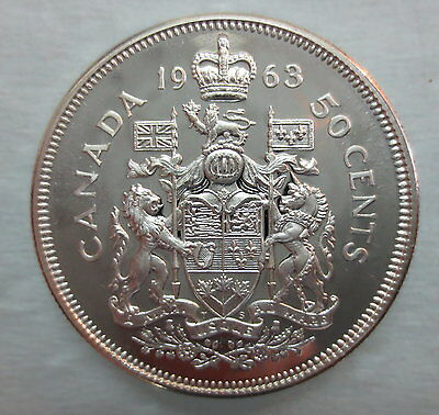 1963 Canada 50 Cents Proof-Like Silver Half Dollar Coin