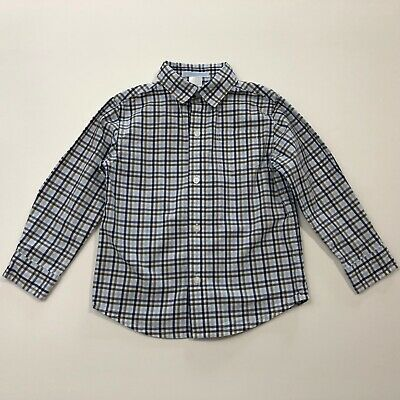 JANIE AND JACK Classic Train Blue/Brown Plaid Button Up Shirt Size 3 3T