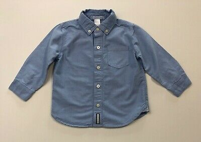 JANIE AND JACK Vintage Cycle Club Blue Button Up Shirt Size 18-24 Months